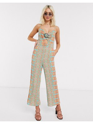 Moon River cut out strappy jumpsuit in check-multi