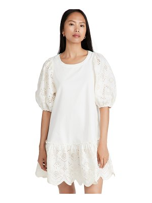 Moon River embroidered puff sleeve shirtdress