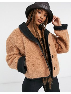 Moon River teddy bomber jacket in brown