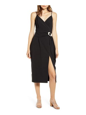 Moon River wrap front knee length dress