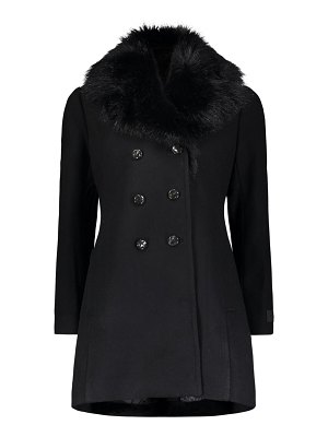 Moose Knuckles middenhall rabbit fur-trim wool-blend peacoat