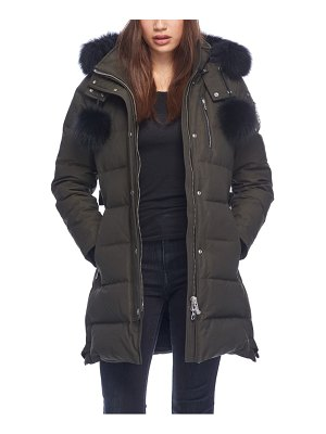 Moose Knuckles paddockwood genuine fox fur trim down parka
