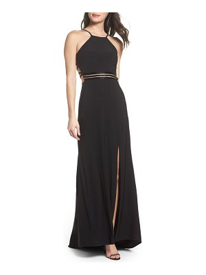 Morgan & Co. beaded mesh halter gown