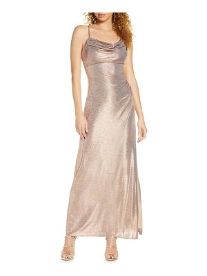 Morgan & Co. drape shimmer gown