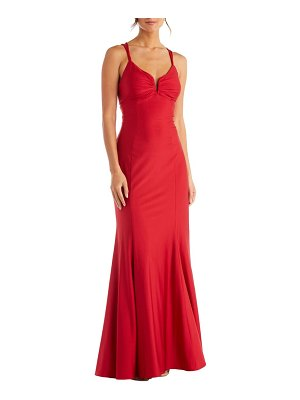 Morgan & Co. lace-up back power satin trumpet gown