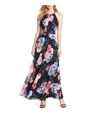 Morgan & Co. print pleat bodice chiffon evening dress