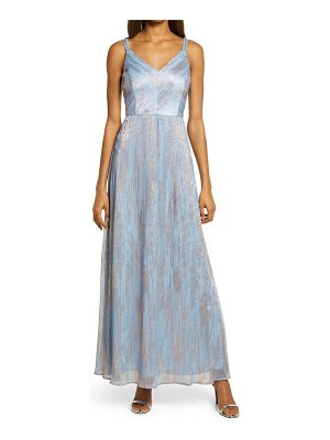 Morgan & Co. shimmer double strap a-line gown