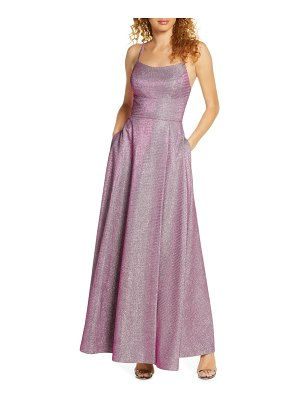 Morgan & Co. shimmer strappy back gown