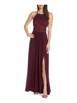 Morgan & Co. strappy back sequin lace evening dress