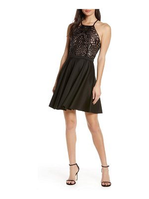 Morgan & Co. strappy lace & sequin bodice party dress