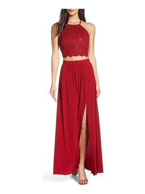 Morgan & Co. two-piece lace halter bodice evening dress