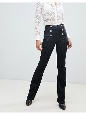 Morgan high waist flare jean with buttons in black