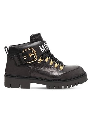 Moschino 30mm leather hiking boots