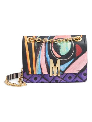 Moschino abstract print leather shoulder bag