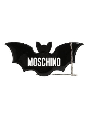 Moschino Bat faux patent leather clutch