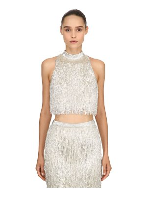 Moschino Beaded fringe silk crop top