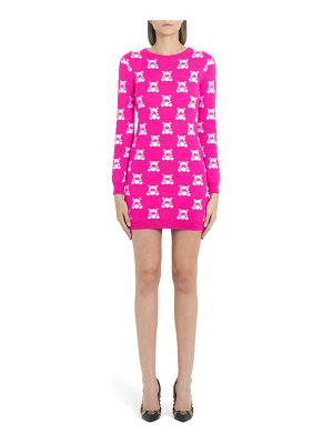 Moschino checkerboard bear long sleeve wool sweater dress