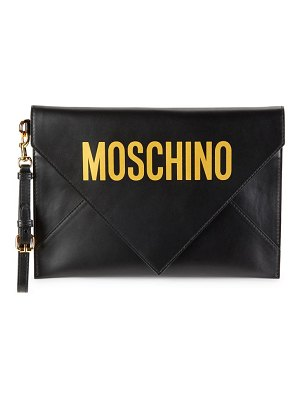 Moschino Logo Leather Convertible Wristlet Clutch