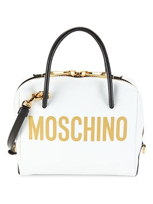 Moschino Logo Leather Dome Satchel