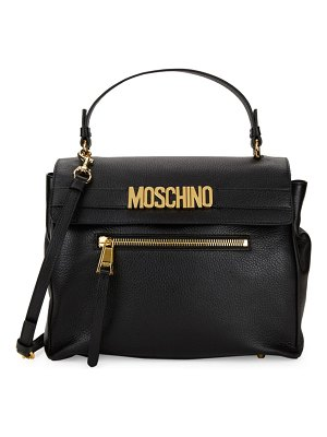 moschino couture Logo Plaque Leather Satchel