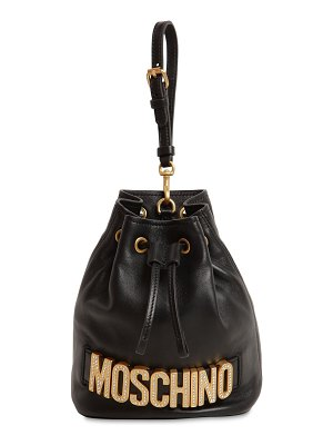 Moschino Crystal logo leather clutch