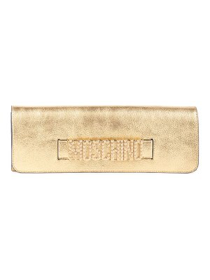 Moschino embellished logo metallic clutch