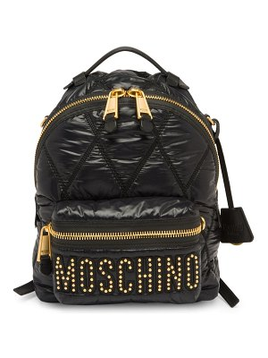 Moschino embellished logo quilted backpack
