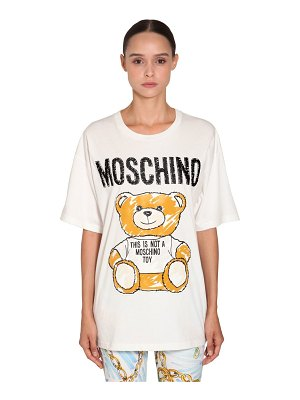 Moschino Embroidered cotton jersey t-shirt