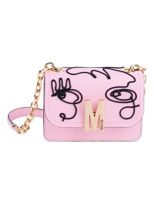 Moschino face embroidered leather shoulder bag