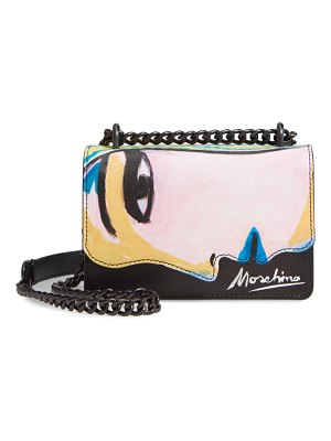 Moschino face print leather shoulder bag