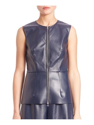 C dric Charlier Faux Leather Zip-Front Top