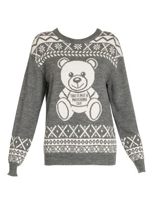 Moschino intarsia bear crewneck sweater