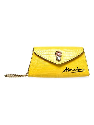 Moschino jewel-embellished croc-embossed leather clutch