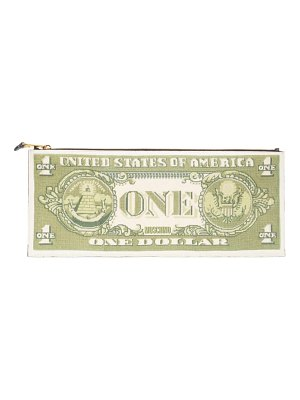 Moschino large one dollar bill zip clutch