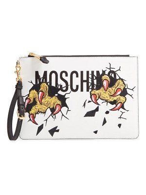 Moschino logo embroidered leather clutch