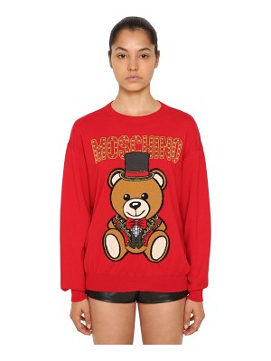 Moschino Logo intarsia cotton knit sweater