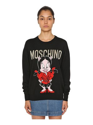 Moschino Logo intarsia wool knit sweater