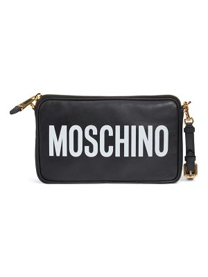 Moschino logo leather clutch