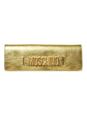 Moschino logo metallic leather clutch