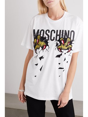 Moschino oversized embroidered printed cotton-jersey t-shirt