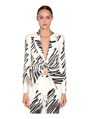 Moschino Printed crepe jacket w/ bow