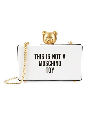 Moschino Slogan Leather Box Clutch