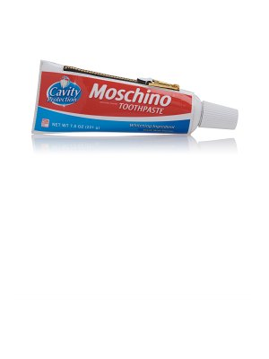 Moschino toothpaste vegan leather clutch