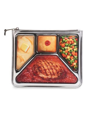 Moschino tv dinner photorealistic zip clutch