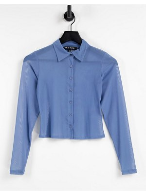 Motel 90s fitted mesh button front shirt-blues