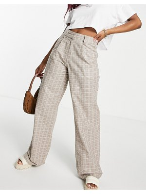 Motel high waisted wide leg pants in check