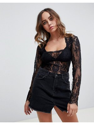 Motel long sleeved square neck lace top