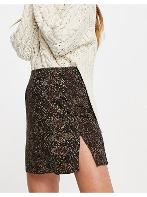 Motel mini a-line skirt in snake print with thigh slit-brown