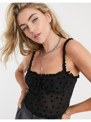 Motel strappy milk maid top with frill sleeves in butterfly flocking-black
