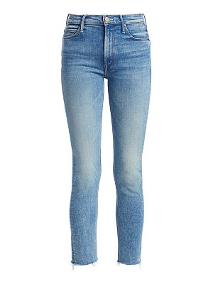MOTHER dazzler cropped frayed skinny jeans